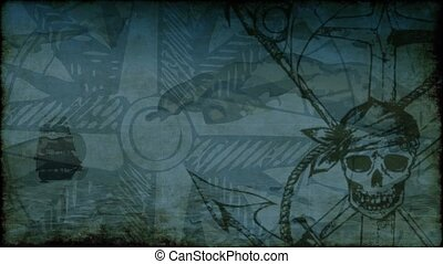 Pirate background with skull, anchor and compass