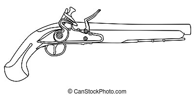 Pirates Pistol - An of old style flintlock dueling pistol ...