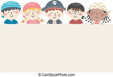 pirates, planche, vide, gosses, cinq, illustration
