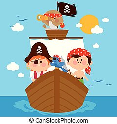 Pirates sailing on a ship at the sea. Vector Illustration