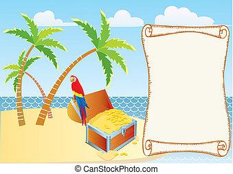 pirate's, schatz, mit, papagai, und, palms., vektor,...