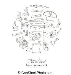 Pirates set Isolated  Vector illustration.