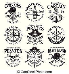 Pirates set of vector vintage emblems or badges