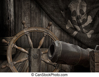 Pirates ship with old jolly roger flag