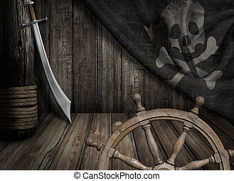 Pirates ship steering wheel with old jolly roger flag and...