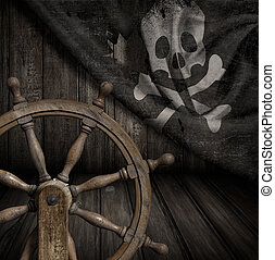 Pirates ship steering wheel with old jolly roger flag 3d...