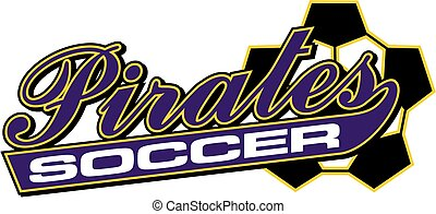 pirates soccer team design in script with tail for school,...