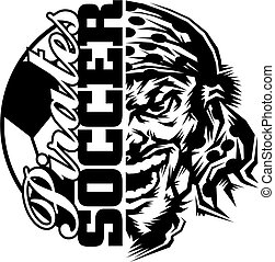 pirates soccer team design with half mascot and ball for...
