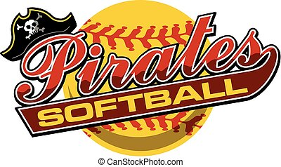 pirates softball team design in script with tail for school, college or league