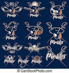 pirates sport teams labels set