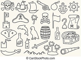 pirates thin line icons set (sabre, skull with bandanna and bones, hook, triangle hat, old ship, spyglass, treasure chest, cannon, anchor, rudder, mountain, map, barrel, rum, island with palms)