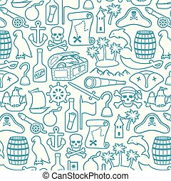 pirates thin line icons set (sabre, skull with bandanna and bones, hook,triangle hat, old ship, spyglass, treasure chest, cannon, anchor, rudder, mountain, map, barrel, rum, island with palms)