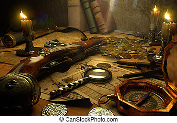 pirate's, tillbehör, bord