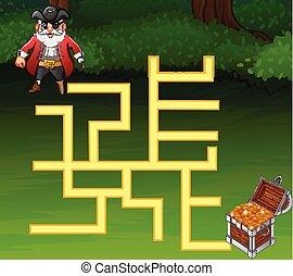 pirates, trésor, jeu, manière, labyrinthe, trouver