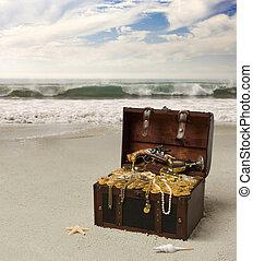 An open treasure chest on the beach