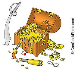 Pirate's treasure chest and cutlass - Pirate's treasure...
