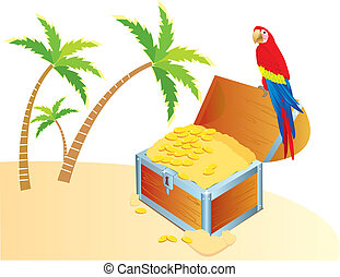 Pirate's treasure chest on a tropical beach with palms and parrote