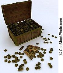 Pirates treasure chest - 3D render of a Pirates treasure...