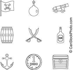 Pirates treasure icon set, outline style