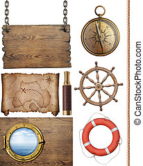 pirates treasure map and other nautical objects 3d...
