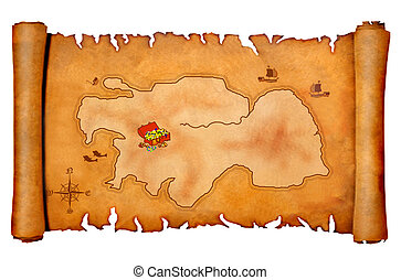 Pirate's treasure map isolated on a white background