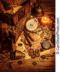 Pirates treasure still life on wooden table, luxury medieval...