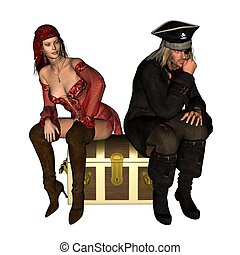 Pirates Treasure - Two pirates sitting on a treasure chest,...