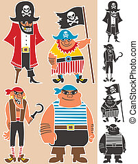Pirates - 4 cartoon pirates. No transparency and gradients...