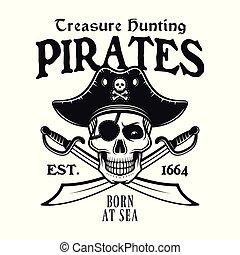 Pirates vector emblem, skull and crossed sabers