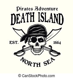 Pirates vector emblem with skull in bandana