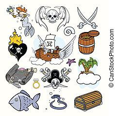 Pirates Vectors Set - Drawing Art of Cartoon Pirates...