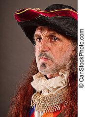 pirate's, vieux, portrait