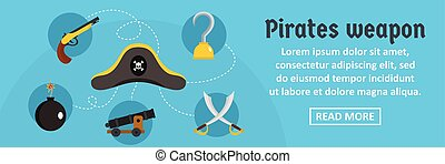 Pirates weapon banner horizontal concept. Flat illustration...