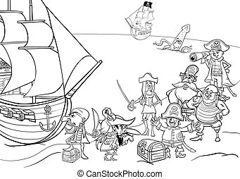 pirates with ship coloring book - Black and White Cartoon...