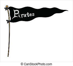 pirati, bandiera, -, vettore, illustrazione