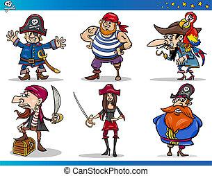 pirati, cartone animato, caratteri, set