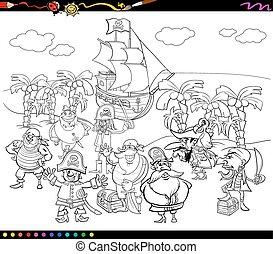 pirati, cartone animato, libro colorante