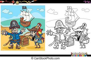 pirati, con, tesoro, coloritura, pagina