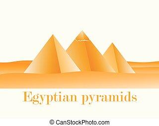 pirati, egiziano, giza., illustrazione, vettore, deserto, gradients., paesaggio