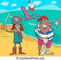 pirati, su, isola, cartone animato, illustrazione