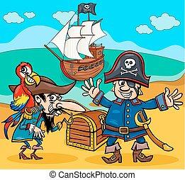 pirati, su, isola tesoro, cartone animato