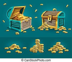 piratic, snablar, bröstkorgar, med, guld peng, skatten