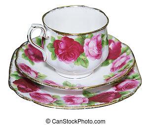 pires xícara, e, prato, com, rosas
