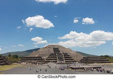 pirmide, de, la, luna, 在, teotihuacan