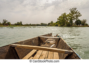 Pirogue on the Niger River - Pirogue on the river Niger in...