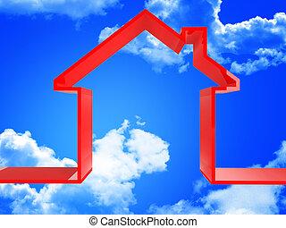 piros, épület, alatt, a, ég