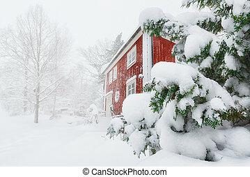 piros, épület, alatt, hóesés