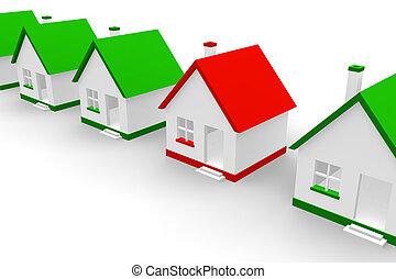 piros, épület, belül, zöld, egyek