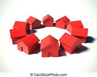 piros, épület