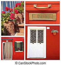 piros, épület, kollázs, olaszország